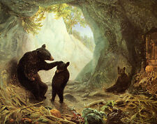 BEAR AND CUBS MOTHER CARESS BABY PAINTING BY WILLIAM BEARD PAPER REPRO 11x14