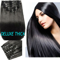 200g Double Weft Clip In 100% Remy Human Hair Extensions Thick Full Head US R03