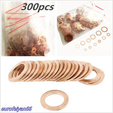 300 X Assortment 12 Size Engine Solid Copper Crush Washers Seal Flat Ring Gasket