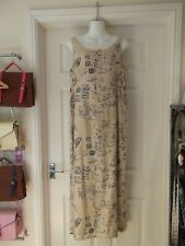 ANNE CAMPBELL Summer Dress Beige/Grey/White Floral Print Lined Maxi UK Size 12