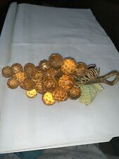 """Vntg. Lucite or Acrylic ~ 8"""" FACETED GRAPES & 1 LEAF CLUSTER ~ Peach-Light Amber"""