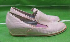 "80%20 brand pink white strap 2"" wedge heel round toe  mules Size 10"