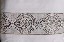 Bloomingdales SKY EMBROIDERED FRAME King Duvet Set &Pillow Dune (Tan) White $390