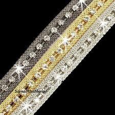 Tri-Color Silver Rose Yellow Gold Pave Crystal Cz MESH Tennis STATEMENT Bracelet