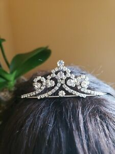 Rhinestone Crystal Silver Tiara Crown Wedding Bridal Pageant Prom Princess