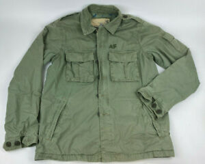 ABERCROMBIE & FITCH Army Green FULL Zip Women's Military JACKET Cotton Sz M