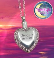 New Always in my Heart Crystal Cremation Urn Ash Silver Memorial Necklace