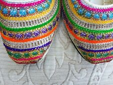 SILVER LADIES INDIAN WEDDING PARTY  BACK LESS SLIPPER SIZE 5