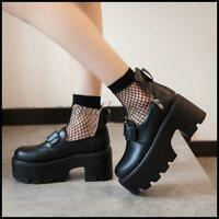 Womens Round Toe Ankle Strap Buckle Creepers Chunky Heels Gothic  Punk Shoe 2019