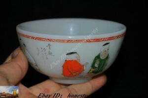 Old Chinese Dynasty Colored glass Hand Painted children Bowls Cup Bowl