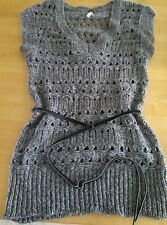 I Love H81 Knit S Tunic Knit Sweater Belted Gray New Wool Blend