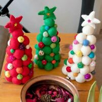 Felt Ball Mini Christmas Tree NewZealand Wool Handmade Xmas Tree Desktop Decor