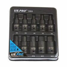 """US PRO 10 pc Impact HEX ALLEN Bit Socket Set  1/2"""" Drive H4 - H19 S2 BITS 3593"""