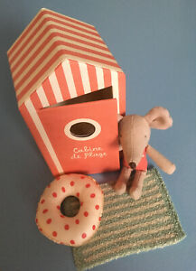 Maileg Mouse Little Sister in Beach Hut - BRAND NEW - collectible mice
