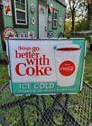 COCA COLA porcelain metal sign vending machine coke vintage style soda fountain