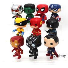 10 Pcs/Set Super Heroes Superman Batman Spiderman Captain America Figure Toy