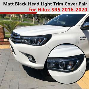Matte Black Head Light Front Protector Trim Covers fit Toyota Hilux 2015-2019 SR