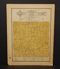 Wisconsin Waushara County Map Leon Township 1914 W10#19