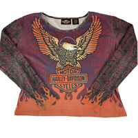 Harley Davidson Womens Long Sleeve Eagle Flame T-shirt Tee Made In USA Size XL