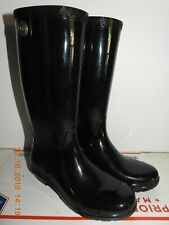 AUTHENTIC UGG AUSTRALIA SHAYE Rubber Tall Boot Black Shinny Size 6 Pull On Excel