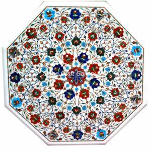 "30"" Marble Center Table Top semi precious stones Inlay Art Handmade Work"