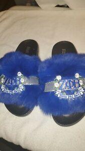 Zeta Phi Beta Bling Furry Slides