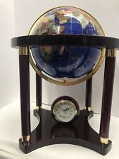 "Lapis Gemstone Globe Pearl Handcrafted Gemstones Wood Stand Alarm Clock 17"" Tall"