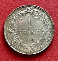 BELGIUM  BELGIQUE : 1 Franc 1910 - Silver - Albert - KM#72 - almost UNC