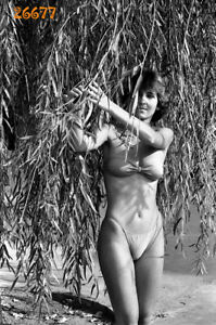 pretty girl in bikini, swimsuit, 1980s vintage  negative!