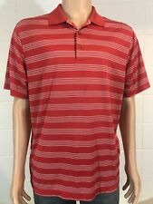 Nike Men's Golf Polo Shirt L large Dri-fit Red/orange Striped Tour Performance
