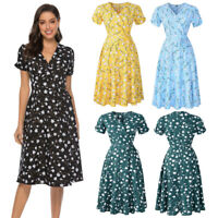 Womens V Neck Summer Holiday Floral Print Dress Ladies Short Sleeve Party Dress