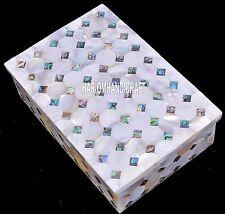 "8""x4""x2"" Decorative Marble Boxes Jewelry Gemstone Slabs Mosaic Stone Gift H4062B"