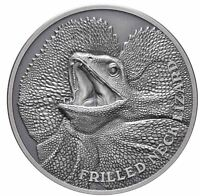 2020 FRILLED NECK LIZARD 1oz Silver Antique Silver Proof Coin