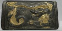 PLAQUE EN METAL CHINE A DECOR DE DRAGON PATINE NOIR ET DORE FIN 19EME D338