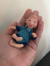OOAK Tiny 4 Inch Polymer Clay Baby Boy Doll Handmade