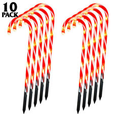 Whonline Christmas Candy Cane Lights Lighted Pathway Markers Set of 10 Christmas