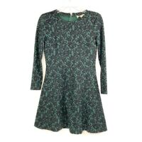 Ann Taylor Loft Womens A Line Dress Green Floral Fit Flare Zip Stretch Petite 4P