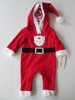 NWT-Baby Cat & Jack One Pc. Hooded Santa Outfit-Infant Boy-NB, 0-3, or 6-9 Month