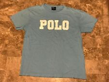 Vintage 90s Polo Ralph Lauren Polo Spell-Out Baby Blue Graphic T-Shirt Size S