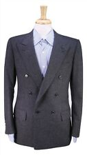 BRIONI Vintage Gray Fleece Flannel Wool Double Breasted Blazer Jacket 38S