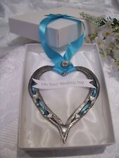 REAL WEDDING HORSESHOE HEART HAND FORGED  GIFT BOXED with TAG  SOMETHING BLUE