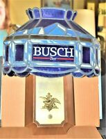 Vintage 1992 Busch Beer Wall Sconce Lamp Sign, Tiffany Style Stain Glass Look