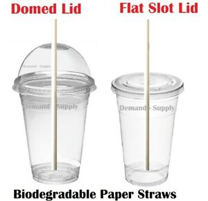 Disposable Smoothie cups, Domed Lids, Party Glass Cup, Plastic Milkshake Glasses