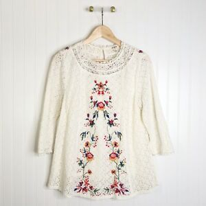 Umgee Small White Lace Floral Embroidered Blouse Top Shirt 1/4 Sleeve