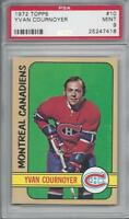 1972 Topps NHL hockey card #10 Yvan Cournoyer, Montreal Canadiens PSA 9 Mint