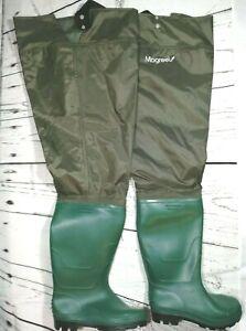 MagReel Breathable Waterproof Waist-High Pant Waders, Green, Men's Size 9