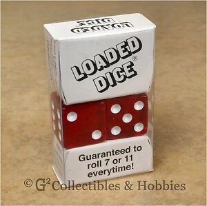 NEW Loaded Trick Transparent Red Dice Set Mis-Spotted 2, 5, 6 Only Not Weighted