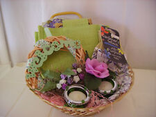 Welcome Wreath Gift Basket in Purple and Greens with Candles, Tote and Gloves