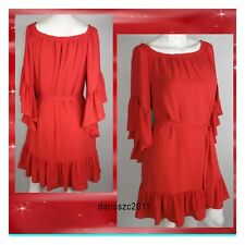 $130 WHITE HOUSE BLACK MARKET  CORAL RED OFF THE SHOULDER FLOUNCE DRESS SIZE S