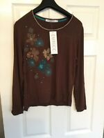 Emreco Brown With Teal Design Long Sleeved Top BNWT